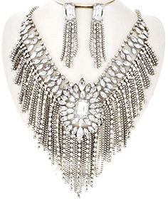 Paris Collection Statement Clear Rhinestone Crystal Fringe Chain Silver Necklace Earrings Set Paris Collection, fashion jewelry http://www.amazon.com/dp/B01C7R5SW8/ref=cm_sw_r_pi_dp_DLf0wb0E36EVA