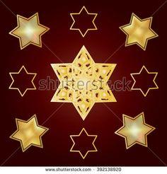 Vintage oriental pattern with gold stars. Ornamental carpet ornament. Golden David star. Gold star of David ornament Jewish Holiday Rosh hashana, Sukkot, Hanukkah, hanuka, Passover Vector Judaica