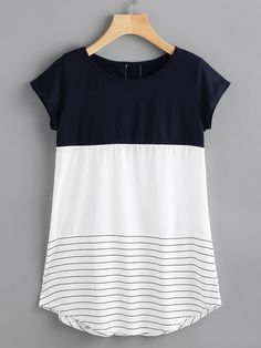 Women Casual Striped Regular Fit Round Neck Short Sleeve Black and White Longline Length Contrast Panel Lace Applique Striped Tee Look Fashion, Fashion Outfits, Womens Fashion, Fashion Black, Fashion Ideas, Stitch Fix Outfits, Striped Tee, Lace Applique, Look Cool