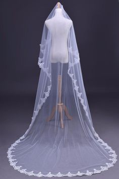 Elegant Lace Edge Long Wedding Veil Accessories 3M Bridal veil free shipping
