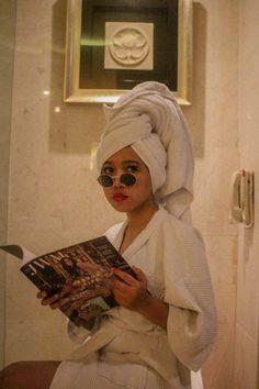 Reading a magazine with Head Towel and Bath Robe. Bath, Instagram Ideas, Vsco Filter, Photoshoot Ideas, Boudoir, Winter Hats, Towel, Photographs, 1