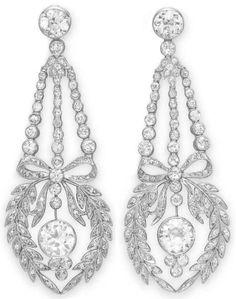 Belle Epoque diamond earrings, circa 1910. Via Diamonds in the Library.