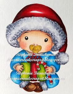 La-La Land Crafts Inspiration and Tutorial Blog: Tutorial Thursday - Colouring stippled clothing on Christmas Baby by Stéphanie Beauchemin.  http://lalalandcrafts.blogspot.ie/2015/10/tutorial-thursday-colouring-stippled.html