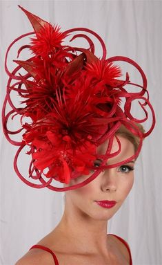 Red Fascinator Hat - for those who love to make an entrance pillarbox red sculpture is . Millinery Hats, Fascinator Hats, Fascinators, Headpieces, Red Hat Ladies, Red Hat Society, Ascot Hats, Crazy Hats, Kentucky Derby Hats