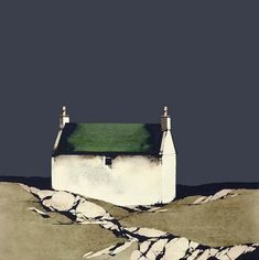 Ron Lawson - Barra Cottage - Signed, Limited Edition Print, Landscape by Ron Lawson