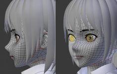 3d anime face poly topology 3d Model Character, Character Modeling, Character Design, Maya Modeling, Modeling Tips, Sculpting Tutorials, Art Tutorials, 3d Modellierung, Face Topology