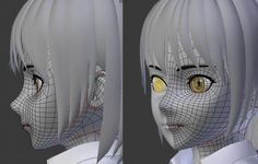 3d anime face poly topology