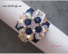 Beaded Ring Tutorial Pattern Purple S Ring RG181 by darlovely