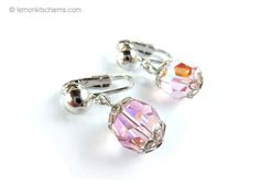 Vintage AB Pink Crystal Beaded Earrings Jewelry 1960s
