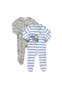 F&F 2 Pack of Striped and Space Print Sleepsuits Newborn Outfits, Baby Boy Outfits, Kids Outfits, Baby Wearing, Nightwear, Baby Shower Gifts, Kenny Chesney, Fashion Outfits, Clothes For Women