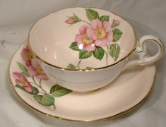 Royal Grafton Roses Anemone Tea Cup and by FionaKennyAntiques #RoyalGraftonpinkroseanemonecupsaucer