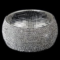 Silver Clear Rhinestone Bangle Bridal Bracelet 81401