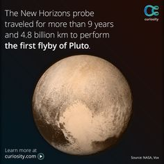 Learn what surprising objects are aboard the New Horizons probe, and follow its nine-year journey through the solar system.  This photo of Pluto was taken on July 13, 2015 at a distance of 766,000 km (476,000 mi) from the surface, just before the probe's closest approach.