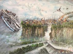 Star Wars Painting, Millennium Falcon Oil Painting by Naci Caba