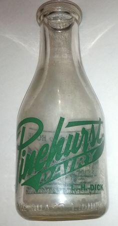 Vintage Pinehurst Dairy One Quart Pyro Milk Bottle Milk Jars, Old Milk Bottles, Antique Bottles, Vintage Bottles, Recycled Bottles, Bottles And Jars, Antique Glass, Glass Bottles, Dairy Packaging