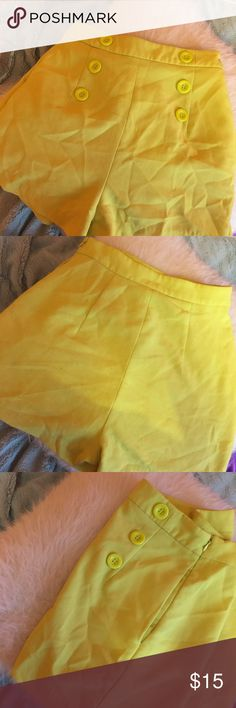 ✨Yellow✨Forever 21 High Waisted Shorts Yellow High Waisted Shorts  Bought at Forever21, but tag is another brand.  Wrinkled - will wash before shipping!  Super cute for summer and spring! Make me an offer! Forever 21 Shorts