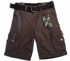 NWT Retail $44 Mens Size 34 HELIX Cargo Shorts & Belt, Dark Brown, Zip Pocket. $19.99