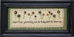 "Sampler ""Learn From Yesterday"" Country Rustic Primitive Primitive Embroidery, Primitive Stitchery, Primitive Crafts, Primitive Christmas, Country Christmas, Christmas Christmas, Primitive Patterns, Wool Applique, Embroidery Applique"