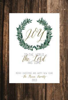 Joy to the World Christmas Card // 20 PRINTED CARDS //  5x7, Christian Christmas Card, Rustic Christmas Card, Religious Christmas Card