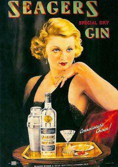 vintage seagers dry gin ad advertisement pin up girl Vintage Humor, Pub Vintage, Retro Humor, Vintage Posters, Retro Funny, Vintage Signs, Vintage Soul, Vintage Glamour, Vintage Items