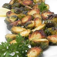 """Roasted Brussels Sprouts with Agave and Spicy Mustard 