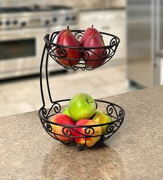 Fruit Baskets, 2 Tier, Black