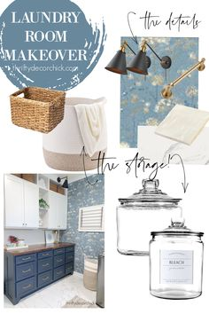 Pretty laundry makeover in blues and creams Above Cabinets, Upper Cabinets, Laundry Shelves, Laundry Room, Wall Drying Rack, Large Laundry Basket, Long Walls, Long Shelf, New Cabinet