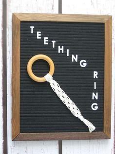 Teething Ring-Macrame Alternating Square Knot-Cream Macrame Cord-Natural Maple Hardwood rings-Great Baby Shower Gift