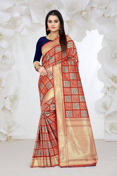 Banarasi silk weaving saree with all over checks weaves with rich zari pallu and blouse Banarasi Sarees, Silk Sarees, Ethnic Gown, Buy Sarees Online, Saree Styles, Red Silk, Saree Blouse Designs, Saree Wedding, Saree Collection