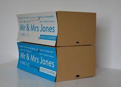 Mr & Mrs Jones— подгузники длявзрослых. Польский дизайнер Sebastian Grabowski создал оригинальную упаковку дляэтих подгузников (дневные— белого цвета, ночные— голубого) сидеей оудобстве покупки идоставки этого неоднозначного товара домой.  Ситуация покупки подгузников длявзрослых ипоследующая переноска их додома может быть неловкой длянекоторых покупателей.  Идея упаковки Mr & Mrs Jones состоит втом, что логотип, название продукта идругой информации вовремя выставления коробок…