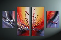 hand-painted oil wall art Warm color the sunset Home Decoration Modern Abstract Oil Painting on canvas 4pcs/set mixorde Framed on AliExpress.com. 8% off $46.38