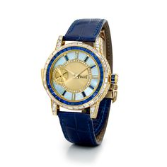 #chronowatchco High jewellery wristwatch in yellow gold set with 101 diamonds and 59 sapphires.   Blue mother-of-pearl set with round diamonds, 9 baguette-cut diamonds and sapphires indexes.  Movement with minute repeater function.  Date: 1994