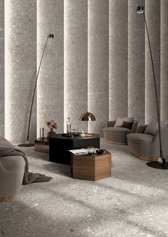[New] The 10 Best Home Decor (with Pictures) - In the Norr porcelain stoneware collection Mirage enters a new unique realm. Ceramic surfaces become tactile and a harmoniously irregular grain becomes the focus. Lobby Interior, Interior Exterior, Interior Walls, Decor Interior Design, Interior Architecture, Interior Decorating, Mosaic Wallpaper, Halls, Lobby Design