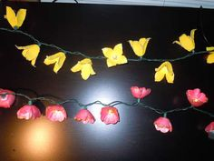 Flower lights from egg cartons. These would look great on a deck and what a great way to use Styrofoam egg cartons.