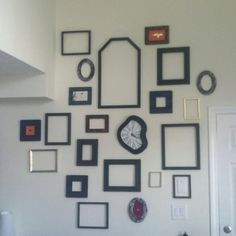 Frame collage for my odd high ceiling. Finally complete.