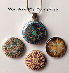 Interchangeable Magnetic Compass Pendant by BellyLaughButtons