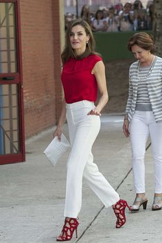 Queen Letizia of Spain Loose Blouse - Queen Letizia of Spain attended Toma La Palabra wearing a red cap-sleeve blouse by Hugo Boss.