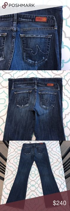 """💙👖Awesome AG Jean👖💙28 5/6 31 The Club Distress 💙👖Awesome AG Jeans👖💙 The Club Fit! Bootcut/Flare. Size 28 (5/6). 31"""" Inseam. 7.5"""" Rise. 14.75"""" Across Back. May run a little small. Please Compare Measurements with your own pants that fit. ; ) Great Stretch. Dark Blue Wash. Light Fading. AG! Adriano Goldschmied! Light Distress! Light Wear. Good Used Condition. LOVE These! So Cute! Anthro! Anthropologie! Ask me any questions! : ) AG Adriano Goldschmied Jeans Boot Cut"""