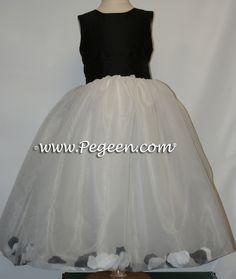 7d60b77656 Black and White Flower Girl Dresses by Pegeen.com with Petals White Flower  Girl Dresses