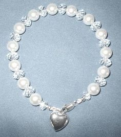 Sparkly Swarovski crystal/pearl bracelet with darling sterling heart! by MountainMistJewelry on Etsy, $69.99