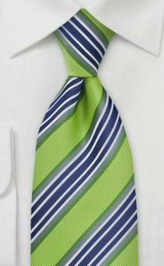 3f4f6da89b7ce Trendy Lime & Navy Necktie - A classic and trendy striped tie in bright  key-lime green, gray, white, and navy. This tie is part of Puccini's latest  tie ...