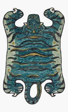 Teal Rug, Teal Area Rug, Area Rugs, Tiger Rug, Justina Blakeney, Animal Room, Hand Hooked Rugs, Cool Rugs, Colorful Rugs