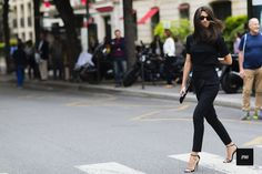 Streetstyle of Vogue Spain Editor in Chief Barbara Martelo during Paris Haute…