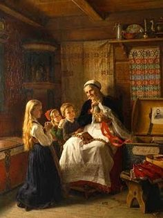 """Adolph Tidemand is my favorite Norwegian artist and this is one of my most favorite pieces of work by him. It's titled """"Bestemor's Brudekrone"""" or """"Grandmother's Bridal Crown"""". (I have a reprint of this.)"""