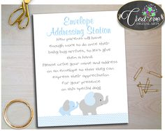 Our new product: ENVELOPE ADDRESSI.... Check it out here: http://snoopy-online.myshopify.com/products/envelope-addressing-station-baby-shower-sign-with-elephant-blue-gray-chevron-theme-for-baby-boy-shower-jpg-pdf-instant-download-ebl02