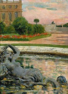 Parterre du Nord, Fontaine des Sirenes 1913 - Versailles painted by American James Carroll Beckwith American Art, Photo Art, Colorful Landscape, Online Painting, Painting Reproductions, Art, Art History, Garden Art, American Artists