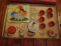 Vtg Ohio Art Tin Litho Toy Tea Set Elaine Hileman Ducky Bath Time Unused in Box | eBay