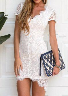 V Neck Lace Asymmetrical Hem White Dress Mobile Site