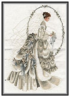 New Finished Completed Cross Stitch - Bride - Cross Stitch Boards, Cross Stitch Needles, Wedding Cross Stitch Patterns, Cross Stitch Designs, Cross Stitching, Cross Stitch Embroidery, Celtic Cross Stitch, Stitch And Angel, Cross Stitch Pictures
