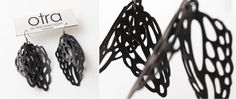 Earrings made of bicycle inner tubes. Beautiful! (from http://otra-design.com - on the road again)